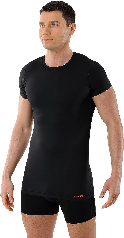 ALBERT KREUZ Camiseta Interior Negra para Hombre de Tejido técnico algodón-Coolmax® – antisudor, Piel Seca – de Manga Corta y Cuello Redondo: Amazon.es: Ropa y accesorios