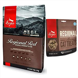 Orijen Regional Red Cat Food 4 LB. Bag. Biologically Appropriate and Regional Red Cat Treat 1.25 Ounce Bag.