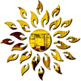Bikri Kendra® Sun with Extra Flames Golden (1.5 Feet X 1.5 Feet) - 3D Acrylic Mirror Wall Stickers for Home & Office