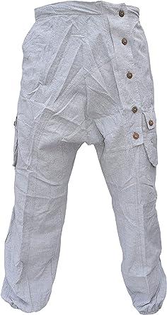 Gheri Pantalones Cargo con Botones arrugados para Hombre: Amazon ...