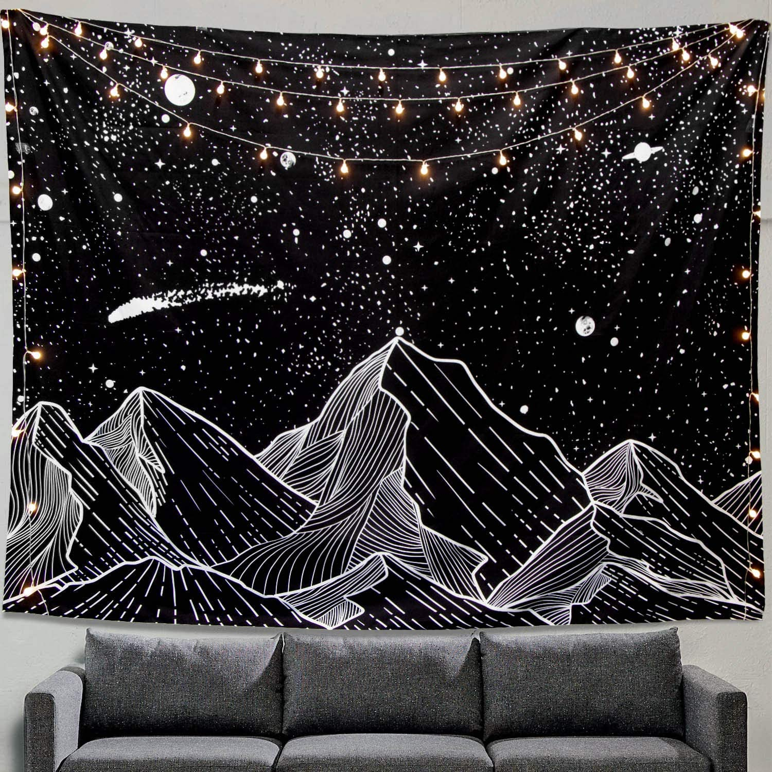 Zussun Mountain Moon Tapestry Wall Hanging Stars Black and White Art Tapestry Home Decor (70