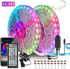 65.6ft LED Strip Lights, Ultra-Long LED Lights Strip Music Sync, App Control with Remote, 600LEDs RGB LED Lights for Bedroom, DIY Color Options LED Tape Lights for Bedroom Ceiling Under The Cabinet