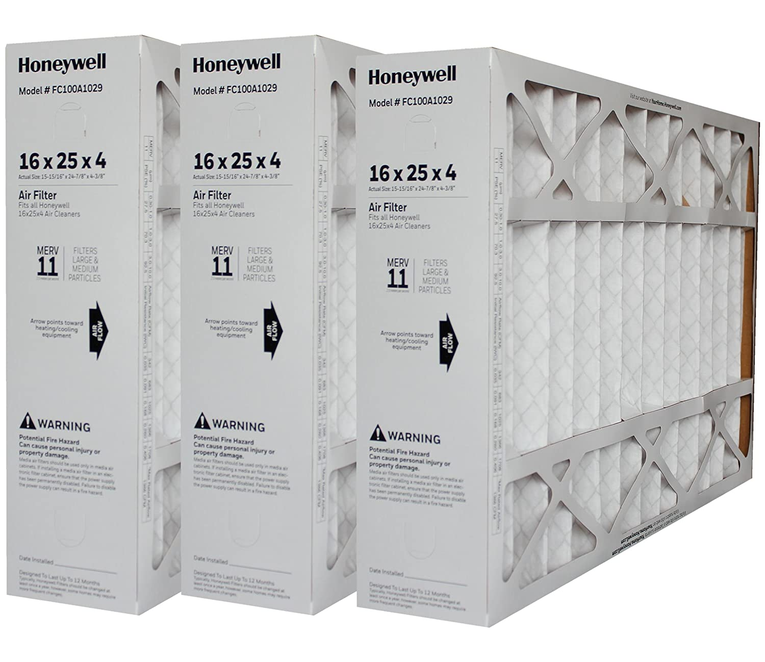 LENNOX 6670 REPLACEMENT FILTERS - HONEYWELL GENUINE 16X25 FC100A1029 MERV11 FILTER 15 7/8 x 24 3/4 x 4 3/8; PACK OF 3 FILTERS - Case of 3 Filters