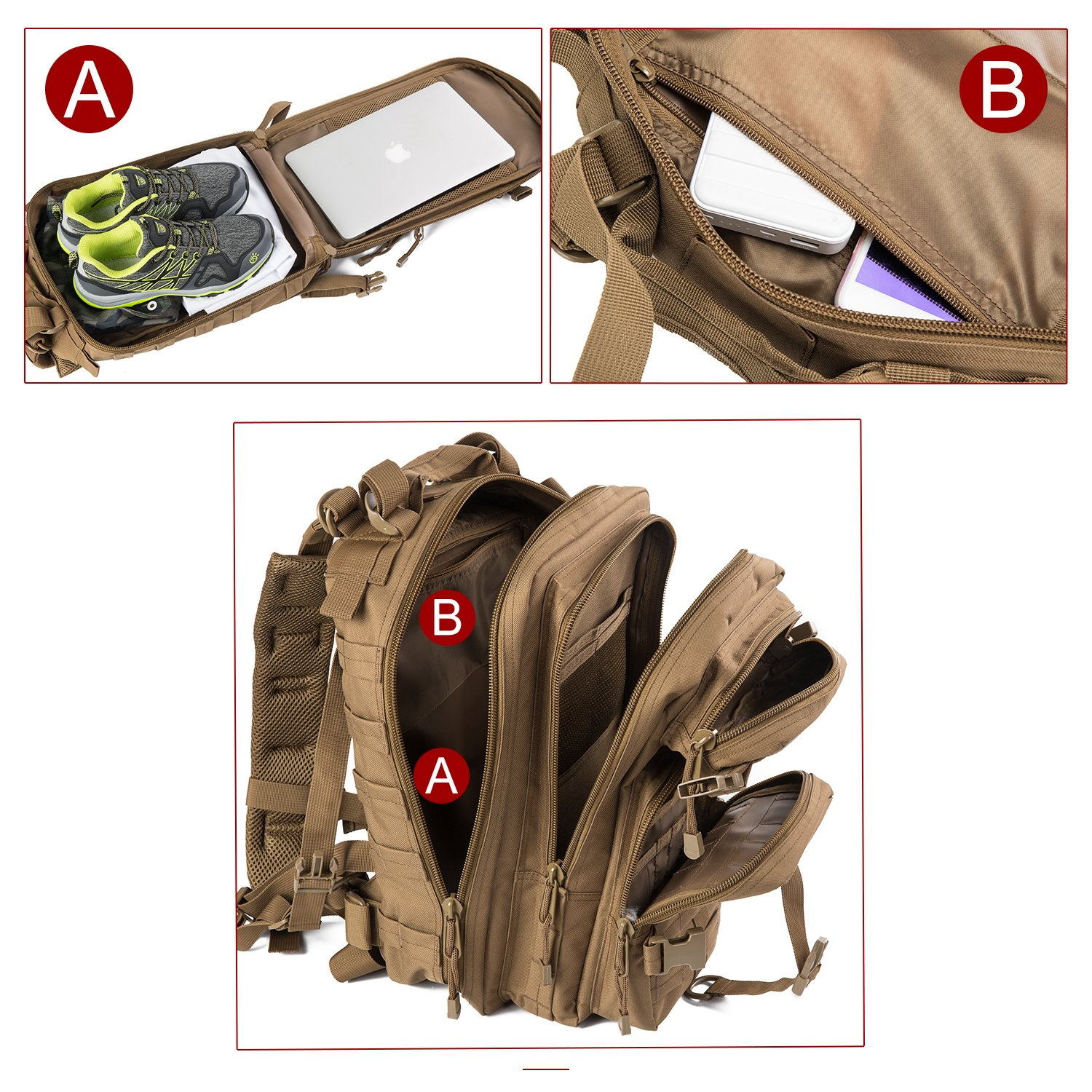 ARMYCAMOUSA Military Tactical Backpack Camping Trekking Small 3 Day Army Molle Assault Rucksack Pack for Outdoors Hiking Bug Out Bag /& Travel