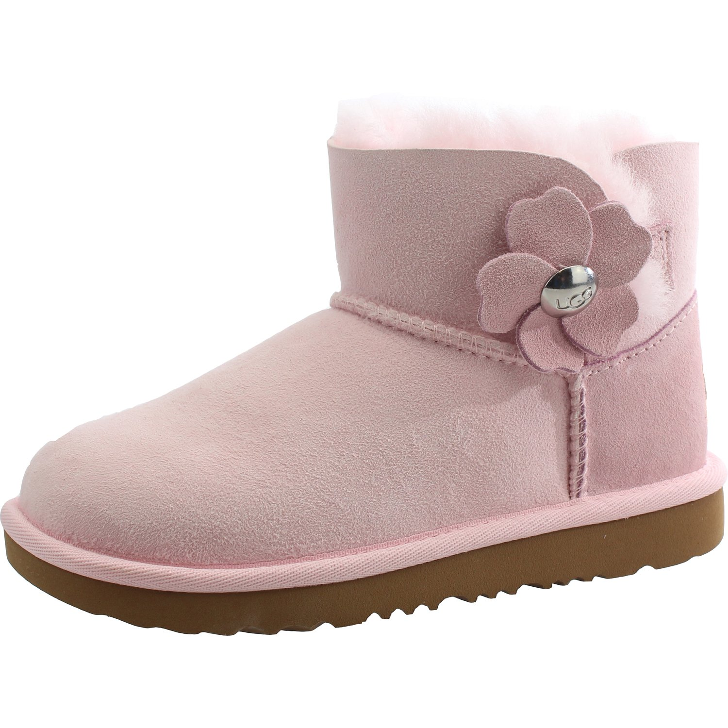 162ea141a07 UGG Australia Girls Mini Bailey Button Poppy Boot Pink Toddler UK11 ...