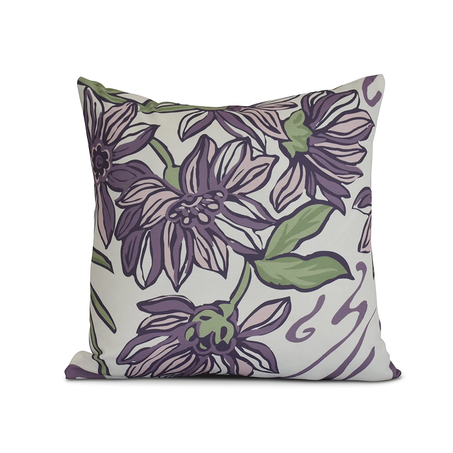 E by design Iona Floral Print Pillow 26 x 26 Blue