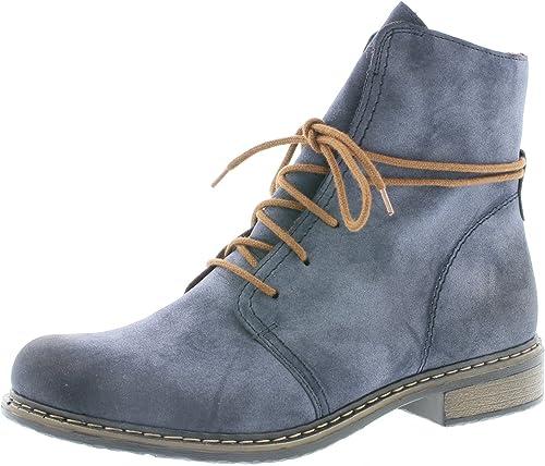 Rieker Damen Schnürstiefelette 71238,Frauen Stiefel,Boots,Halbstiefel,Schnürboots,Bootie,flach,Blockabsatz 3.1cm