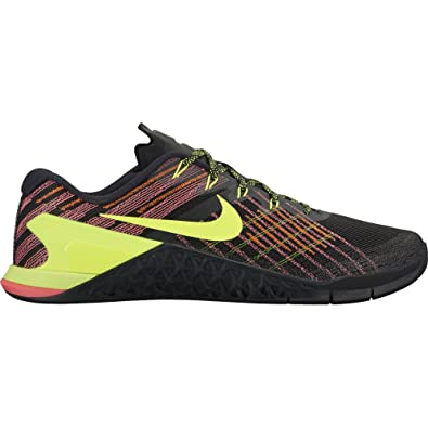 the latest bae7c 2e7ae Image Unavailable. Image not available for. Color  Nike Men s Metcon 3  Training Shoe Black Volt-Hyper Crimson-HOT ...