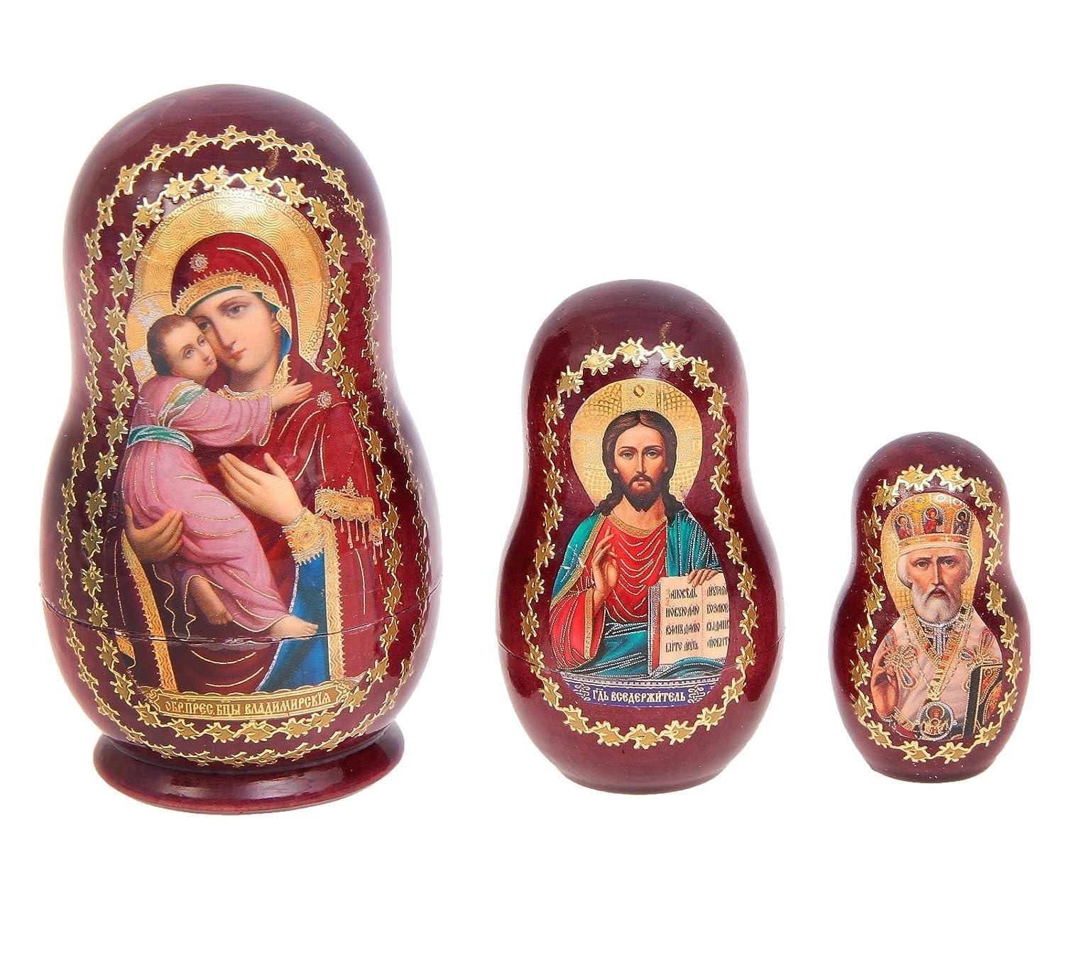 3,9 Set of 3 Wooden Russian Icon Nesting Dolls Matryoshka Stacking Nested Wood Dolls