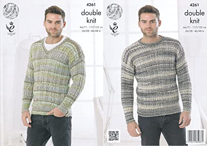 9c6d218cb Image Unavailable. Image not available for. Colour  King Cole Mens Double Knitting  Pattern Cable Knit Round or V Neck Sweater ...