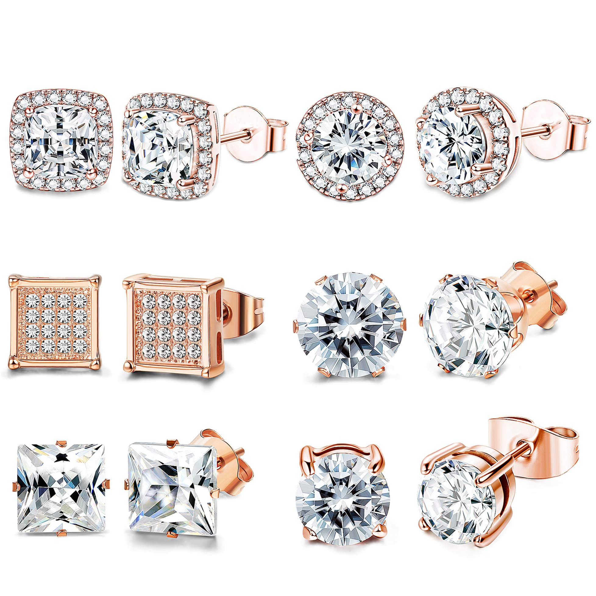 FIBO STEEL 6 Pairs Cubic Zirconia Stud Earrings Set For Women Shining CZ Halo Square Round Earrings Rose Gold by FIBO STEEL