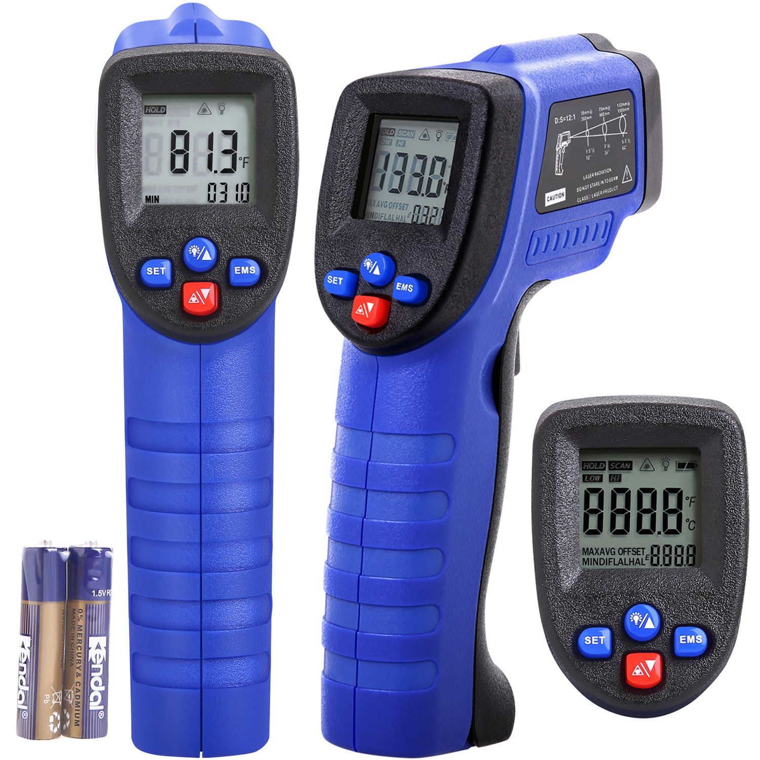 Koeson Professional Non-Contact Digital Laser Infrared Thermometer, Top Accuracy Temperature Gun -58℉~ 1022℉ (-50℃ ~ 550℃) with HD Backlit LCD Display, Adjustable Emissivity, Firm Grip/ Blue & Black