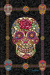 Toland Home Garden Sugar Skulls 12.5 x 18 Inch Decorative Colorful Halloween Skull Garden Flag