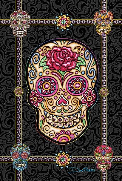 Toland Home Garden Sugar Skulls 12  Inch Decorative Colorful Halloween Skull Garden Flag