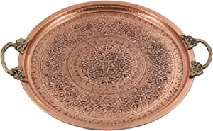Traditional Design Handmade, Hand Painted Hand Punched Hammered Copper Serving Tray with Brass Handle Large (Copper)