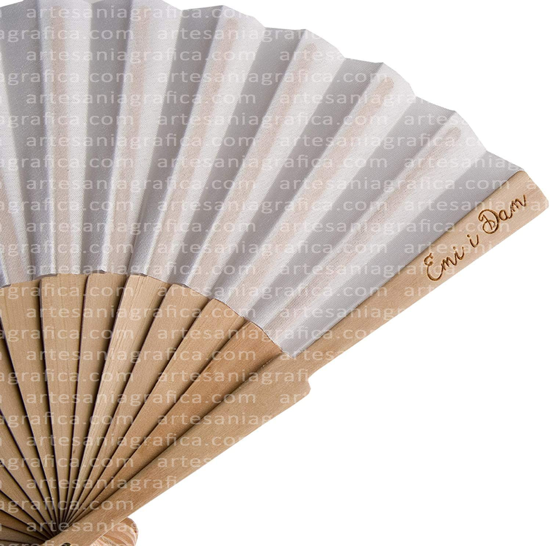 ABANICOS PERSONALIZADOS 24 abanicos con impresión láser en la varilla de madera, se venden en lotes de 24 abanicos.