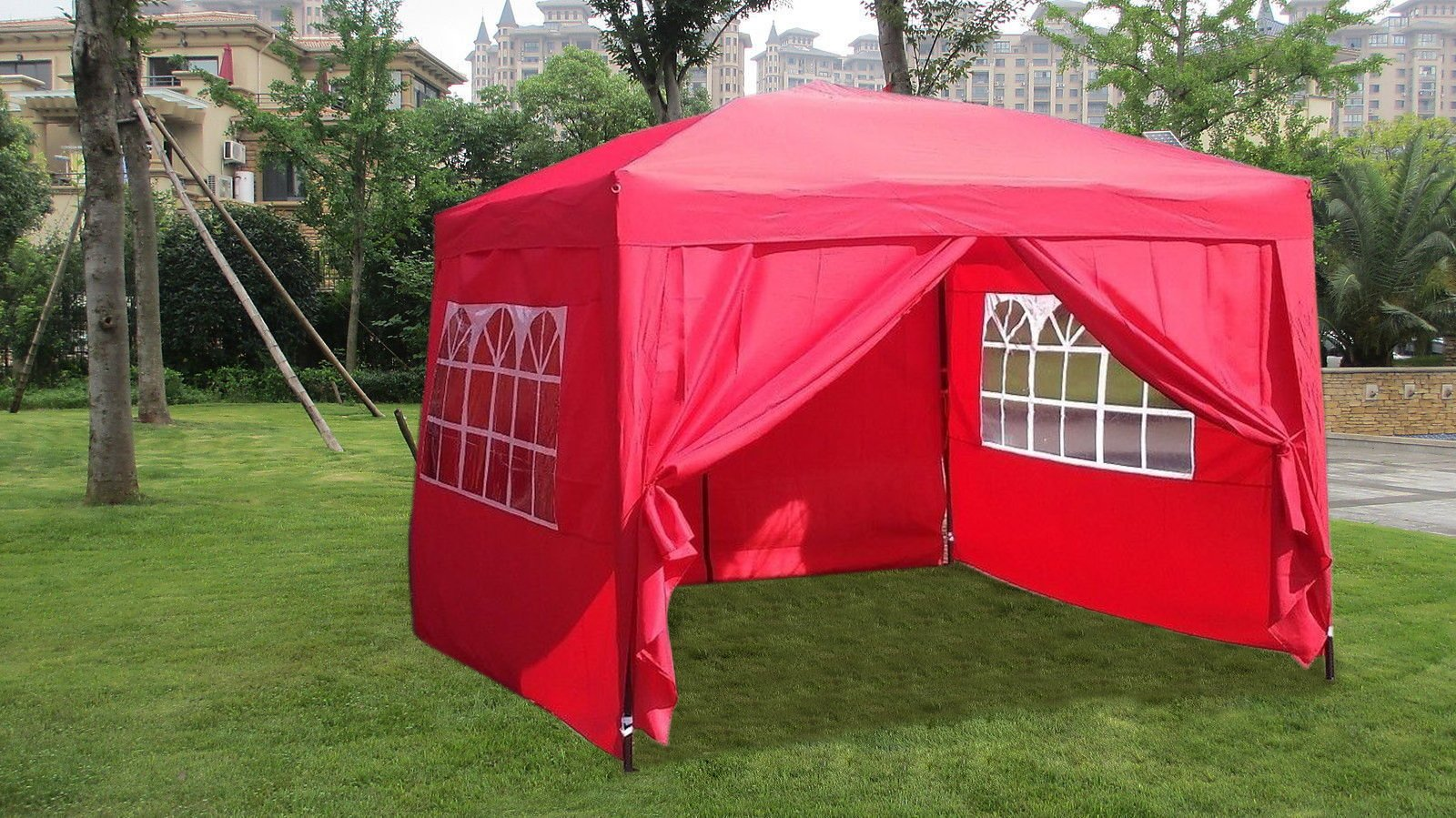 MCombo EZ Pop Up Wedding Party Tent Folding Gazebo Camping Canopy with Sides, 10' x 10', Red