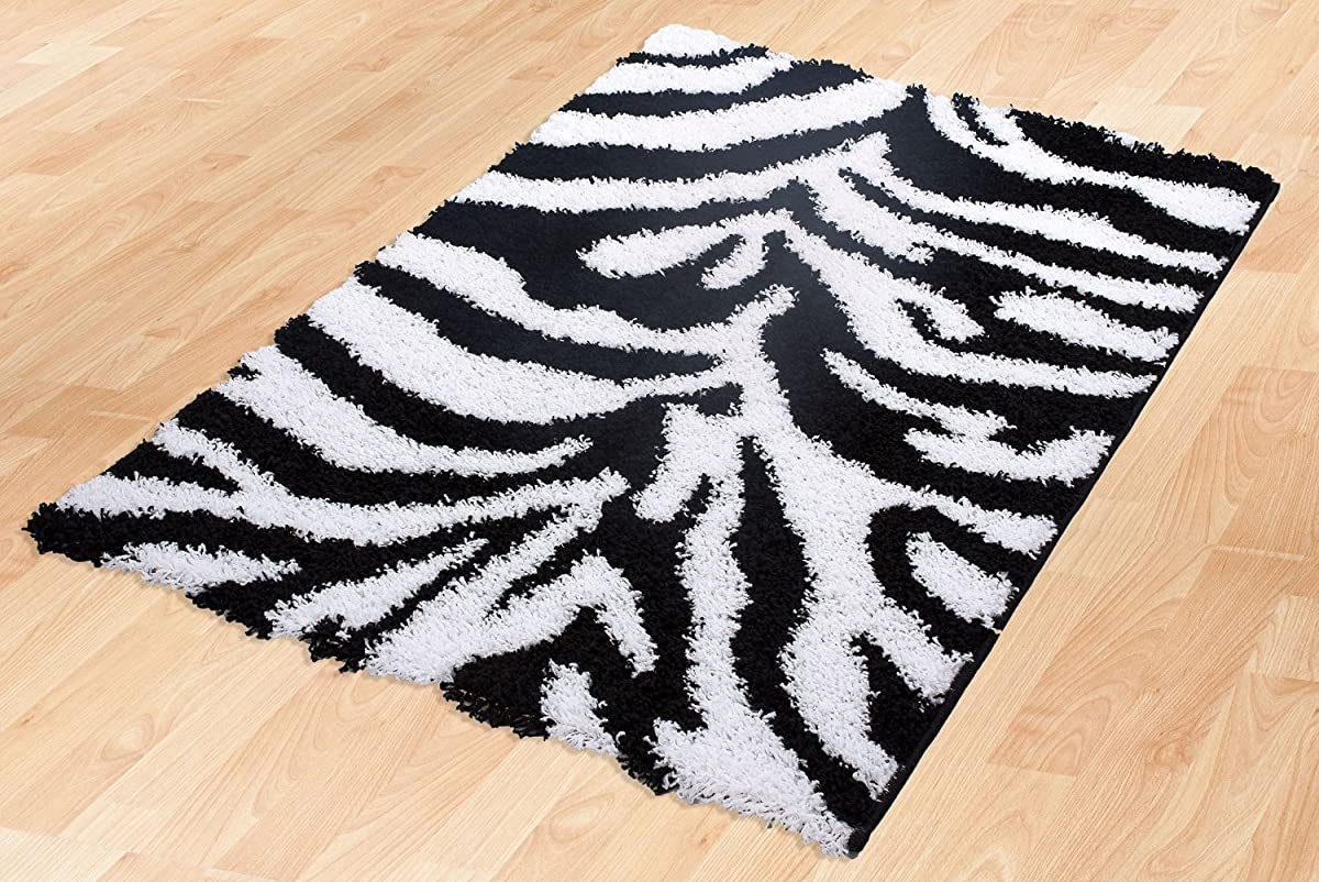 Ottomanson Animal Print Zebra Design High Pile Soft Shag Area Rug, 5 x 7, Black/White