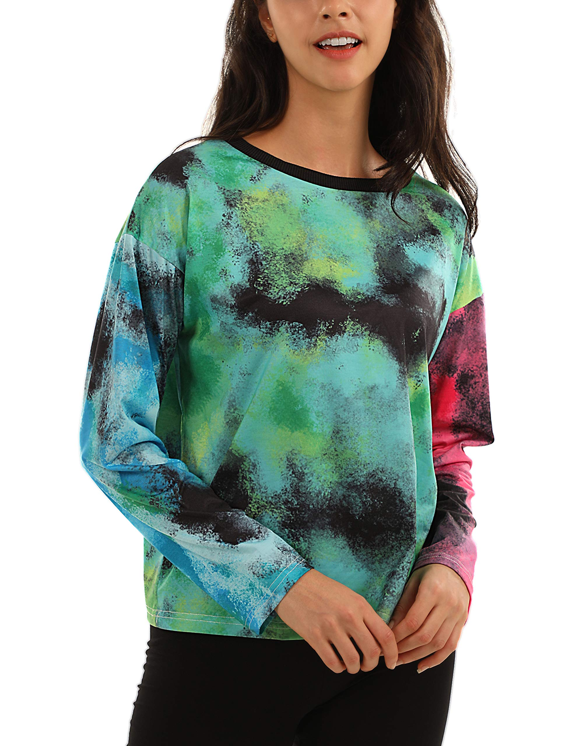Blooming Jelly Tie Dye Shirt Long Sleeve Crew Neck T Shirts Casual Cute Tops Tee(M,Multi)