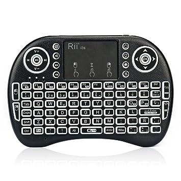 Rii mini i8s Mini teclado Inalámbrico (Layout Español) - 2.4GHz Mini Teclado retroiluminado