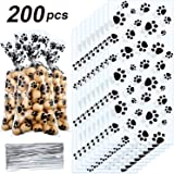 Blulu Pet Paw Print Cone Cellophane Bags Heat Sealable Treat Candy Bags Dog Gift Bags Cat Treat Bags with 200 Pieces Silver Twist Ties for Pet Treat Party Favor (200 Pieces)