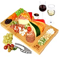 Unique Bamboo Cheese Board, Charcuterie Platter & Serving Tray for Wine, Crackers, Brie and Meat. Large & Thick Wooden…