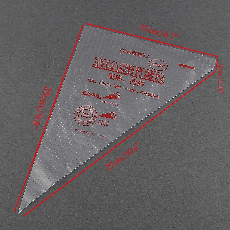 LABOTA 200 Pcs Poches /à Douille Jetable en Plastique poche /à douille Sacs /à p/âtisserie pour Gla/çage et D/écoration de G/âteau P/âtisserie Sucre Fondant-6.3 10.6 pouces
