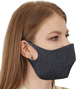 IKIDO Face Mask Reusable Washable, 3-Layers Cotton Cloth Masks for Nose and Mouth Breathable Cotton (Dark Denim, 1 Pack)