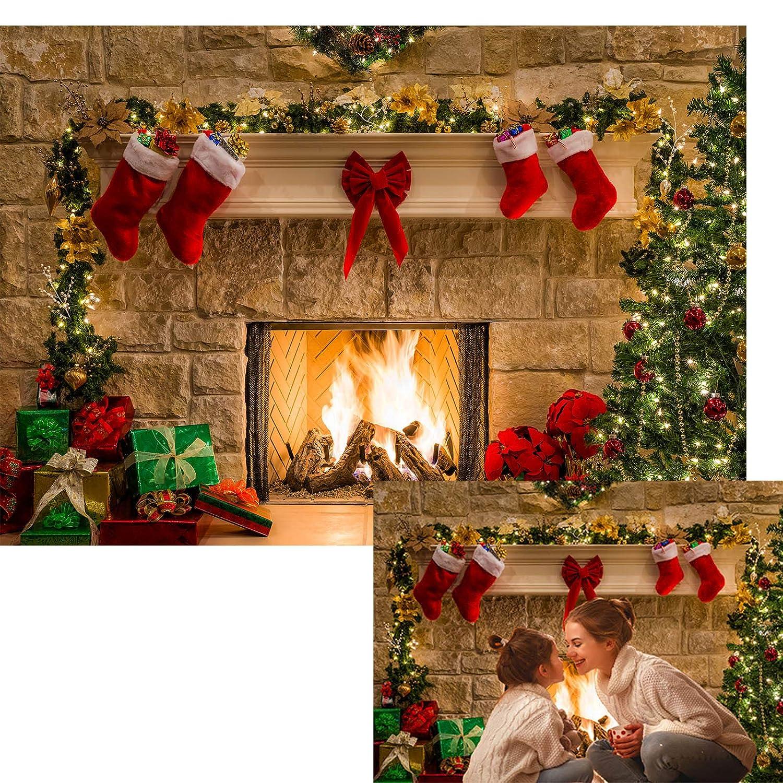 7x5ft Christmas Theme Tree Stove Sock Fireplace Gift Xmas Party Photography Christmas Backdrop For