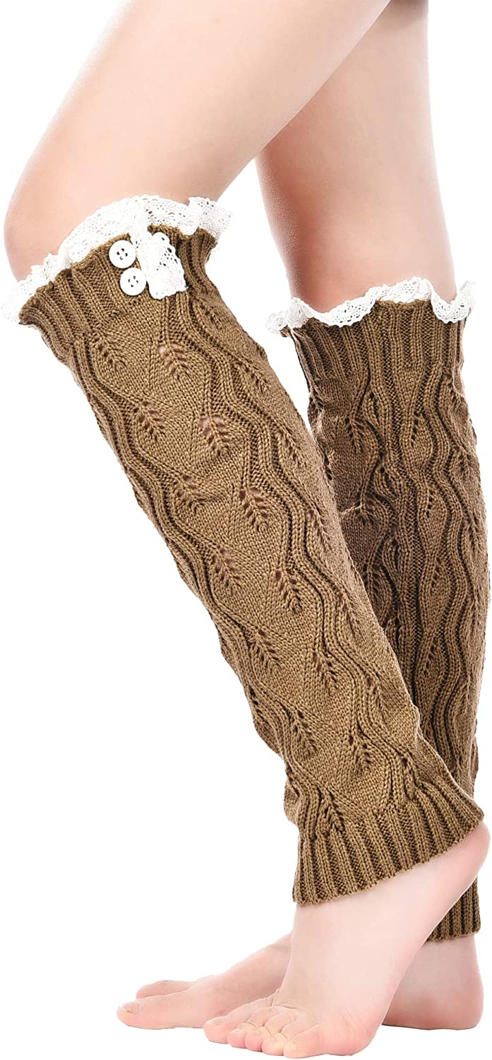 3 Styles 3 Pairs Women Knit Leg Warmers Cable Knit Long Socks Lace Trim Boot Cuffs