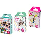 Fujifilm Instax Mini Instant Film 3 Pack Bundle (30 Sheets) with Stained Glass, Candy Pop & Stripe Instant Film