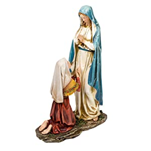 Our Lady of Lourdes and St. Bernadette 10.5 Inch Resin Stone Tabletop Statue Figurine