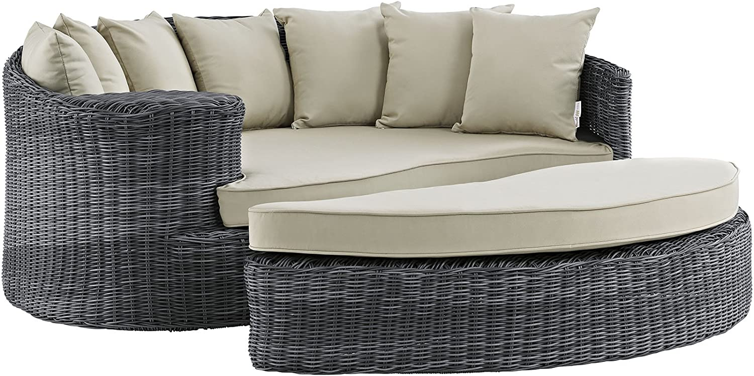 Amazon Com Modway Summon Wicker Rattan Aluminum Outdoor Patio Poolside Sectional Daybed With Sunbrella Fabric Cushions In Antique Canvas Beige Furniture Decor