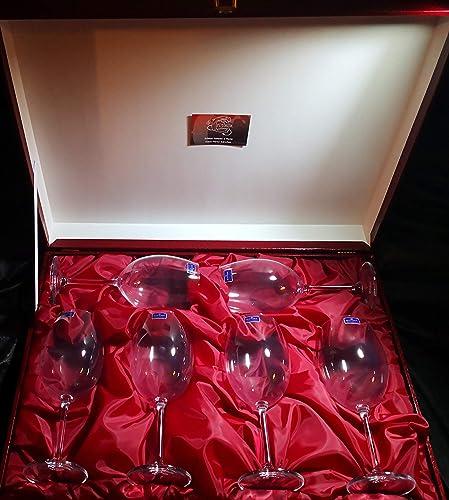 6 Copas Bohemia Vino Talladas a Mano con Estuche de lujo.(mod. Gastro talla iniciales): Amazon.es: Handmade