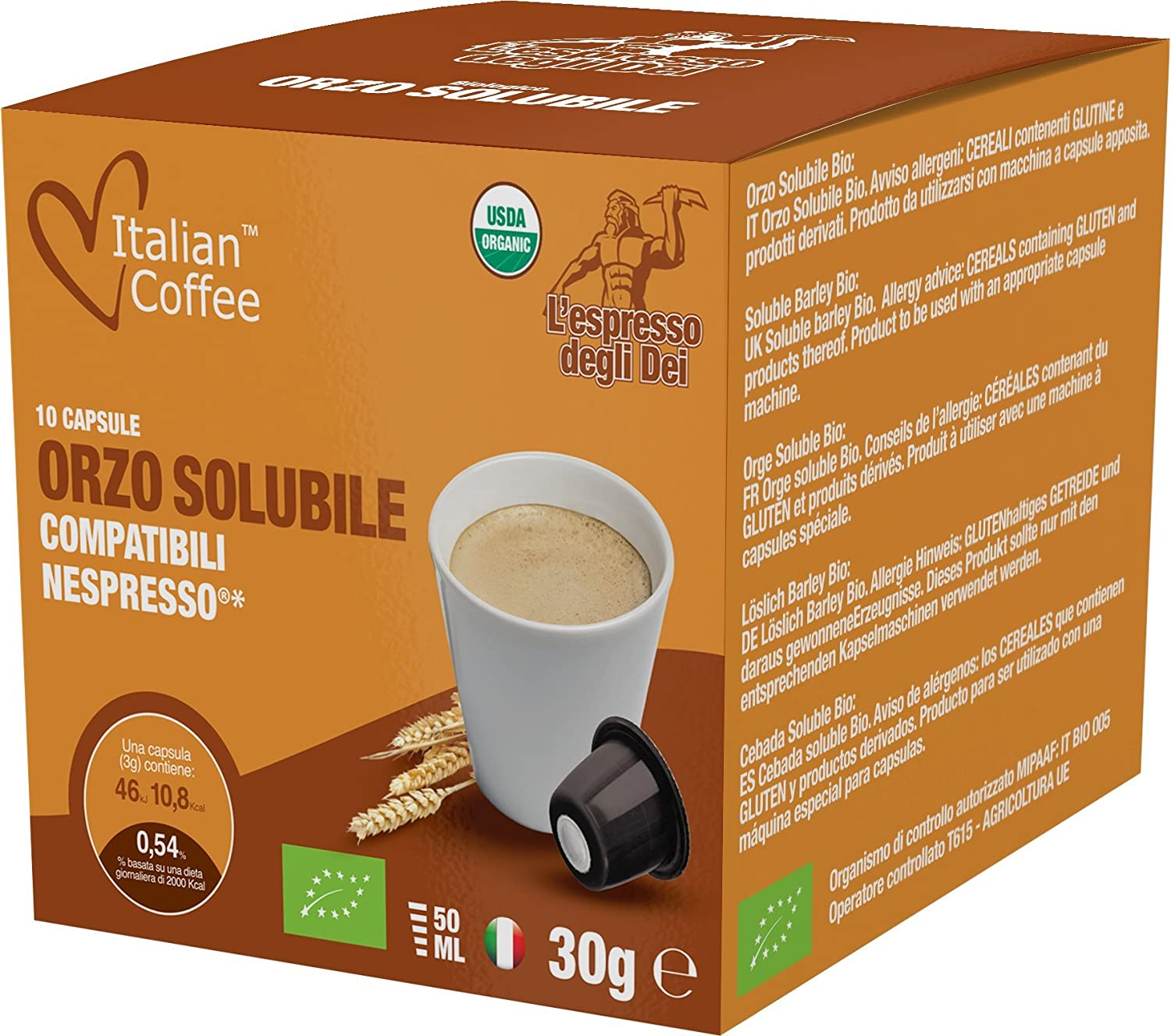 Barley capsules, Nespresso compatible pods, by Italian Coffee (Barley Drink, 30 pods): Amazon.com: Grocery & Gourmet Food