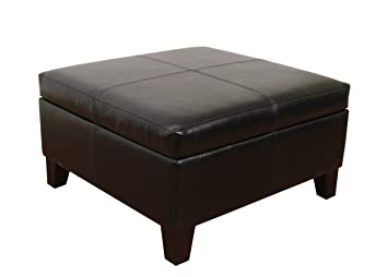 Amazon.com: Large Black Faux Leather Storage Table Bench Living ...