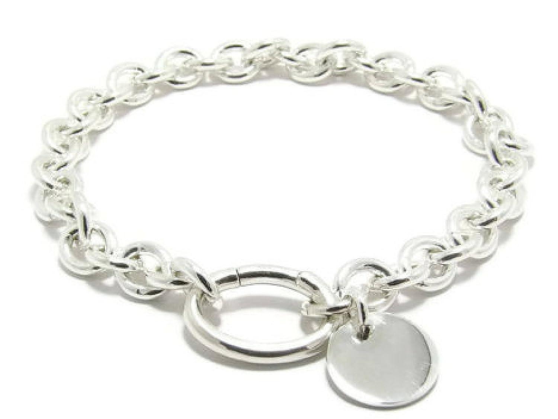 cc6127bd8438 Amazon.com  Sterling Silver 925 Engravable Bracelet Personalized Silver  Charm Bracelet sterling silver bracelet custom name bracelet Flat Silver  Pendant  ...