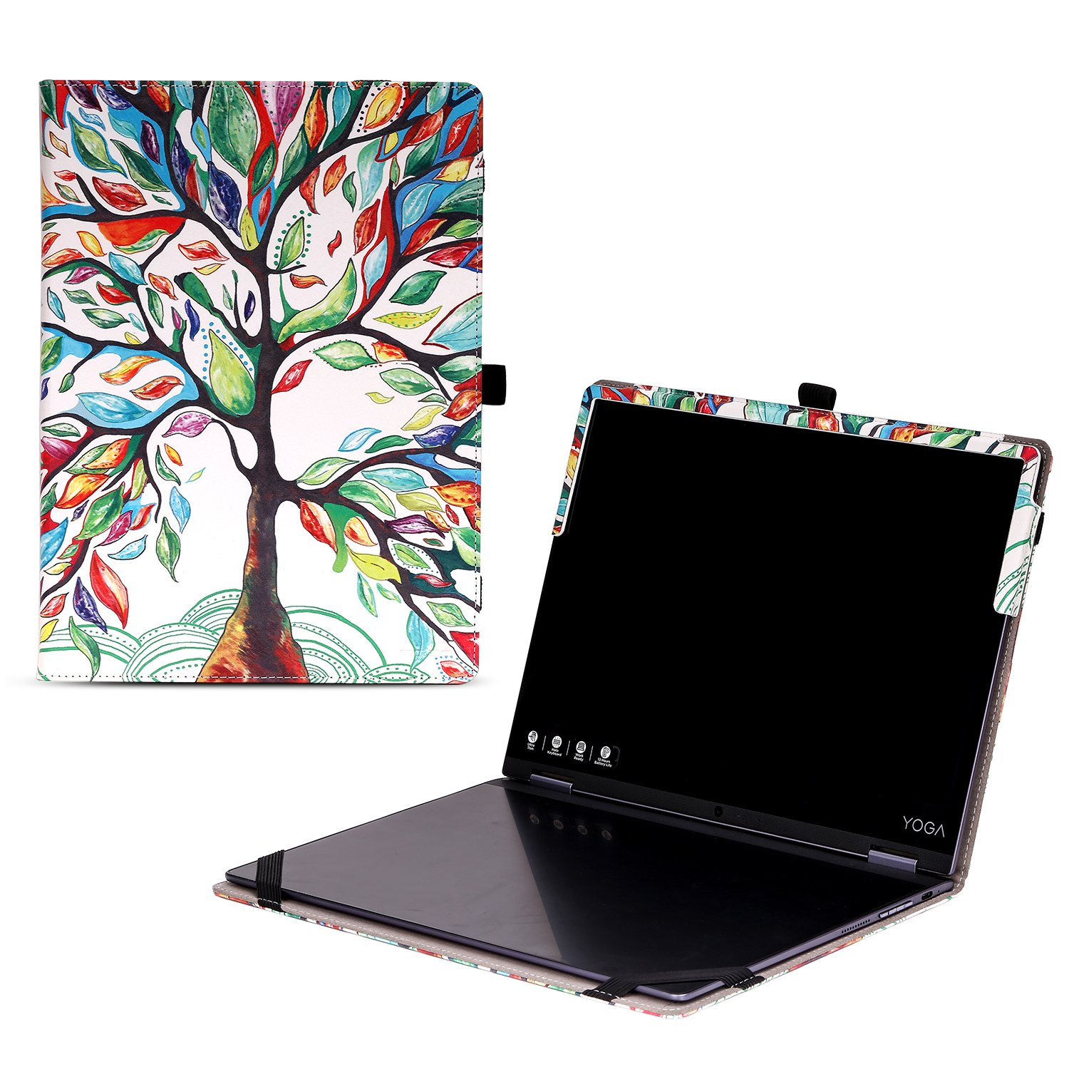 MoKo Lenovo YOGA A12 Case, Ultra Compact Slim Folio Leather Cover Case for Lenovo YOGA A12 HD 12.2'' with Keyboard Version Android Tablet, 2-in-1 Tablet / Laptop, Lucky TREE