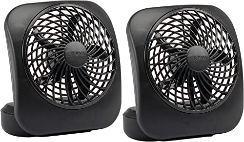 O2COOL Treva Portable 5 Inch fan, 2 Units, Black