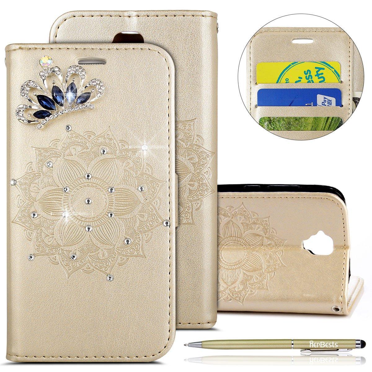 Herbests Kompatibel mit Hülle Huawei Y560 Klapphülle Leder Flip Case Glitzer Bling Strass Diamant Retro Mandala Blumen Muster Handyhülle Ledertasche Schutzhülle Handytasche Lederhülle,Braun