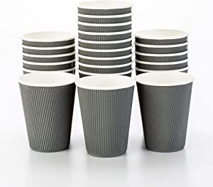500-CT Disposable Gray 12-OZ Hot Beverage Cups with Ripple Wall Design: No Need for Sleeves - Perfect for Cafes - Eco-Friendly Recyclable Paper - Insulated - Wholesale Takeout Coffee Cup