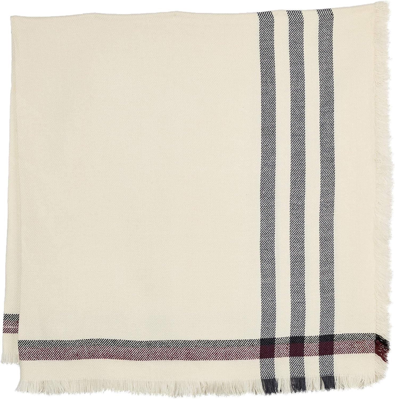 Under Zero Womens Plaid Beige Large Blanket Scarf Wrap