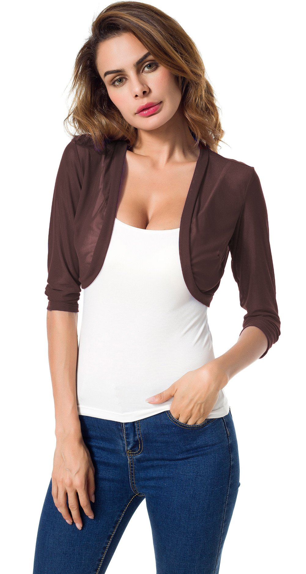 Tandisk Women's 3/4 Sleeve Bolero Sheer Chiffon Shrug Cardigan (M, Coffee)