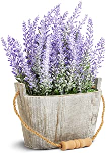 Juvale Artificial Lavender Plant in Rustic Oval Wooden Box (6.5 x 3.5 in.)