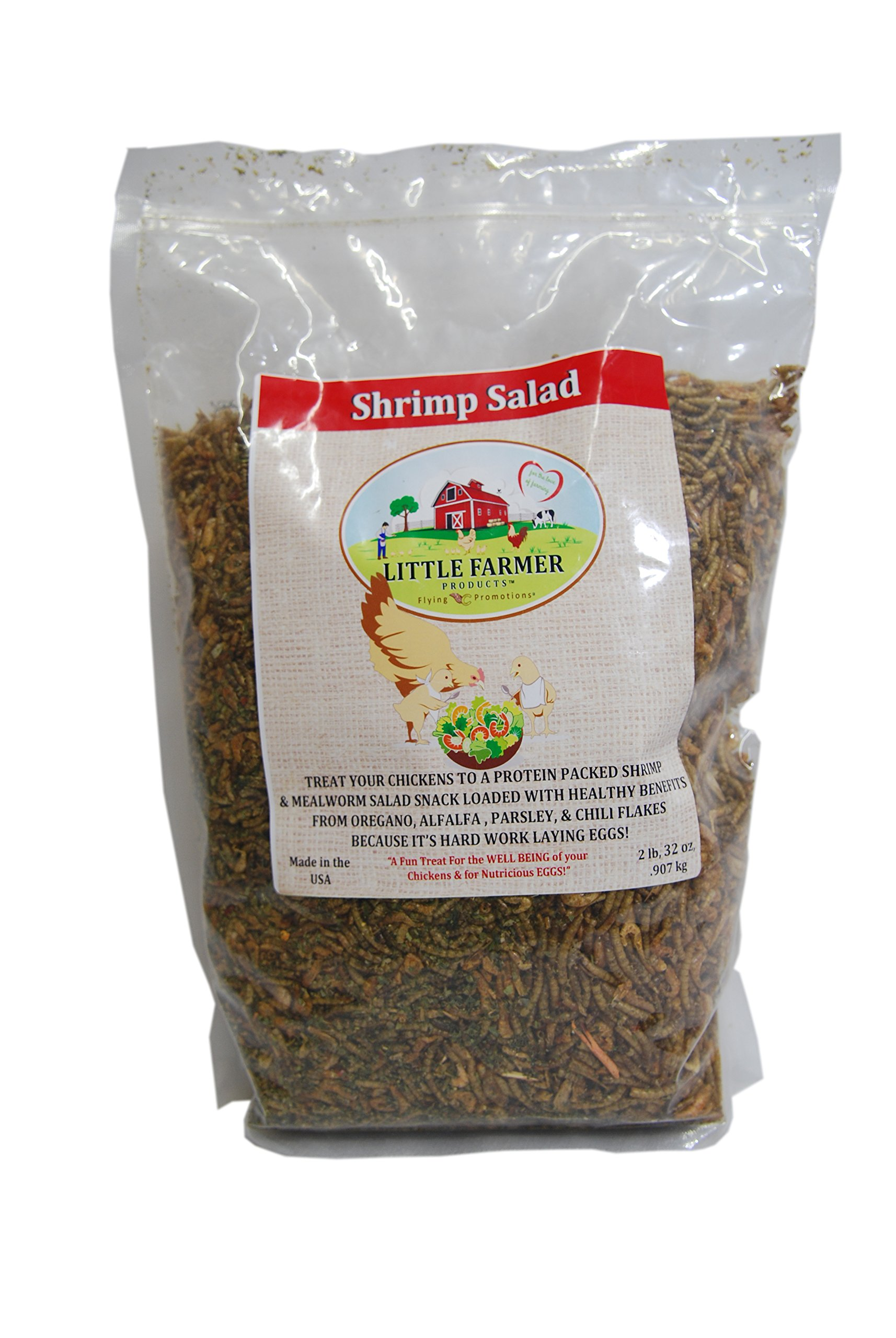 LITTLE FARMER PRODUCTS Shrimp Salad - Dried Mealworm, River Shrimp, Greens Chicken Treat   Premium Poultry Meal Worm & Herb Mix   2 lbs