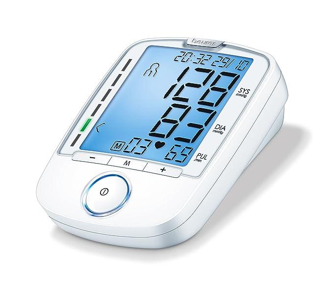 Beurer BM47 Tensiómetro de Brazo, Blanco, PantallaRetroiluminación, Indicador OMS, Memoria 3 x 40 Mediciones: Amazon.es: Salud y cuidado personal
