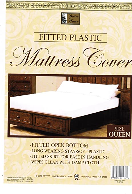 Amazon.com: Queen Mattress Cover White Fitted Plastic Protector