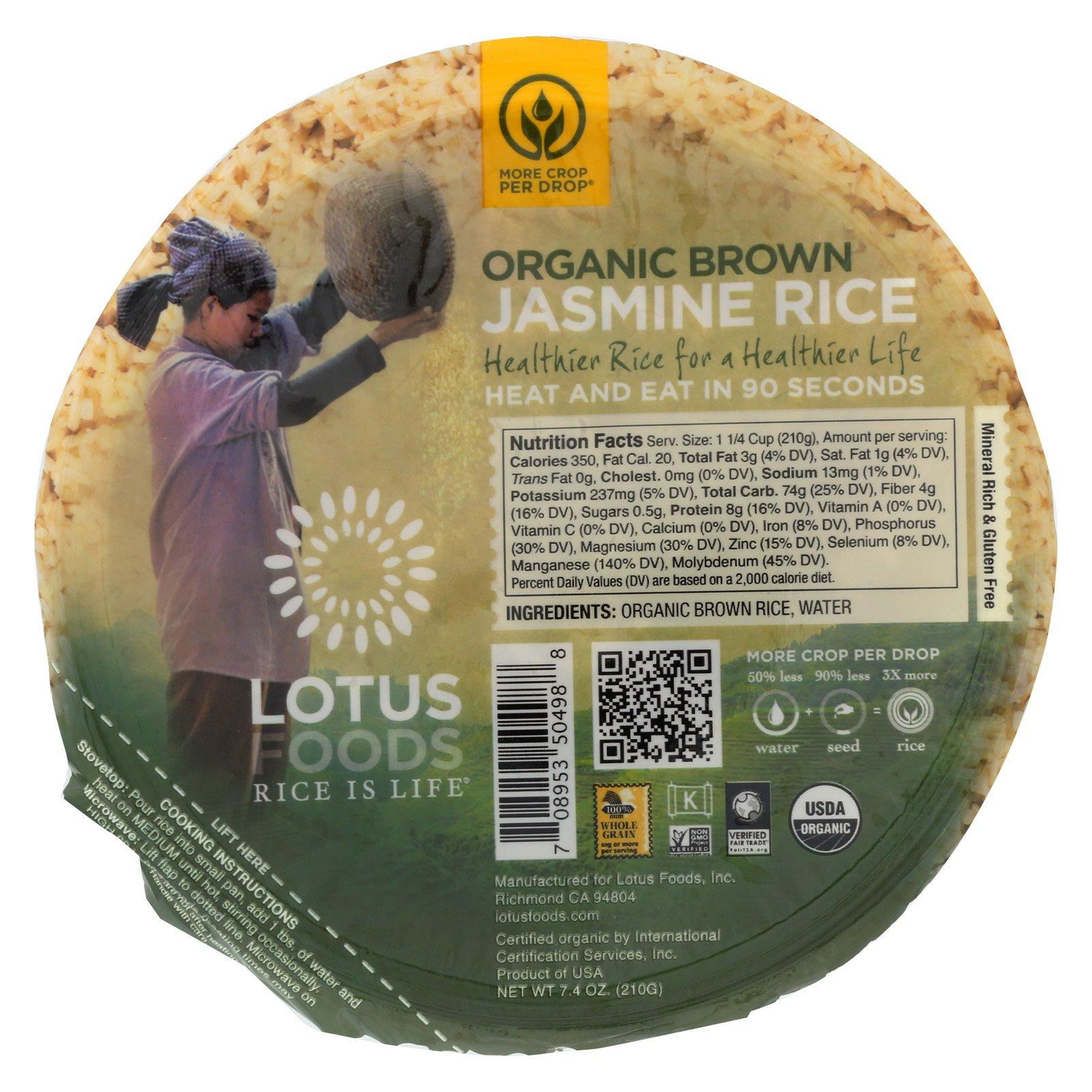 Lotus Foods Organic Brown Jasmine Rice - Case of 6-7.4 oz.
