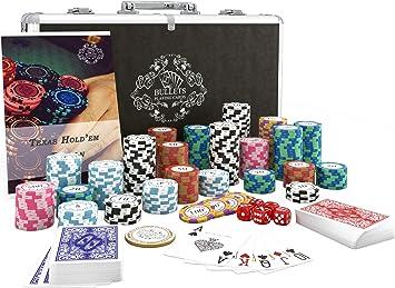 Bullets Playing Cards Maletin poker set profesional. Estuche con cartas y fichas poker. 300 Poker chips numeradas y baraja de cartas de plastico impermeables. Incluye instrucciones del juego de poker: Amazon.es: Juguetes