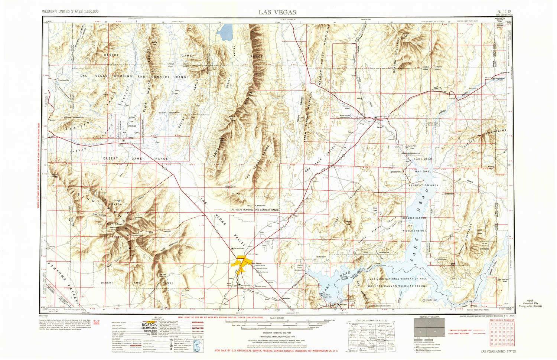 Amazon.com : YellowMaps Las Vegas NV topo map, 1:250000 Scale, 1 X 2 ...